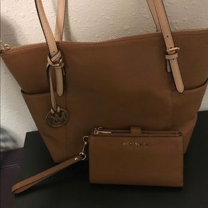 Mk Brown Bag with matching wallet